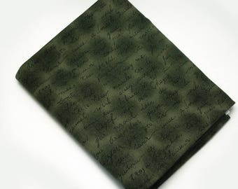 Cotton fabric coupon letter, Word, dark green 25 X 110 cm - STOF Denmark