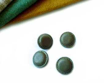 Lot 4 buttons haberdashery effect 15 mm - set X 4 khaki green leather vintage style buttons