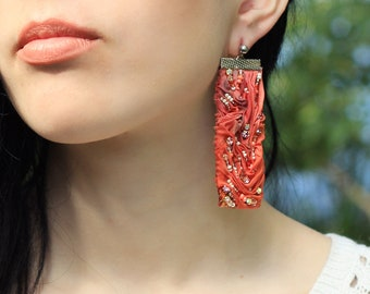 Orange silk earrings / Crystal embroidered rectangle post earrings / Handpainted silk jewellery / Unique stage jewelry for musicians /