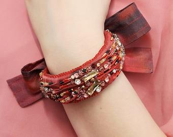 Red Silk Bracelet / Crystal Embroidered Silk Bracelet / Stand out custom artisan jewelry / Cuff bracelet for women / Burgundy Jewellery cuff