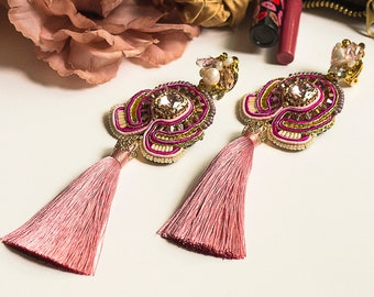 Rose Blush Pink Tassel Clip-On Earrings BELLA / Romantic editorial statement earrings / Feminine and delicate summer jewelry gifts