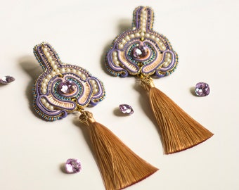 Lilac tassel earrings LAVANDE / Feminine pastel earrings with embroidery / Super long and lightweight art earrings