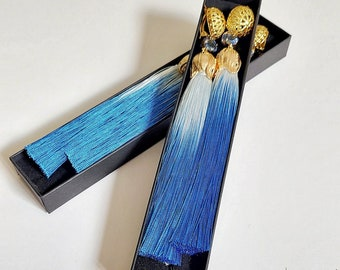 Extra long blue ombre clip on tassel earrings 'Almost Blue'