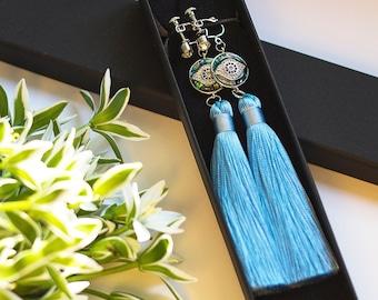 Blue evil eye tassel earrings NAZAR / Mati eye jewellery for protection / Symbolic amulet gifts for her / Non pierced clip on earrings