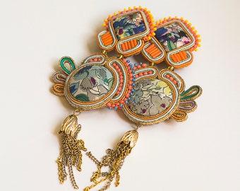 Neon orange clip on statement earrings FELICE / Avant-garde aartsy earrings with tassel /  Brigth eccentric jewellery  / Beaded accessories