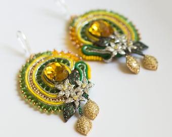 Yellow cubic zirconia earrings LEMONE / Sicilian style citrus statement earrings with sterling silver ear wire / Citrus lemon jewelry