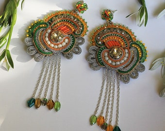 Bohemian textile earrings GIARDINO / Green and silver tassel earrings with crystals / Large lightweight statement earrings / Exotic jewelry