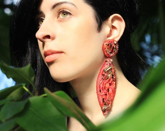 Long silk earrings / Crystal embroidered red silk earrings / Shibori ribbon jewellery for bridesmaids / Huge fashion beaded earrings for her