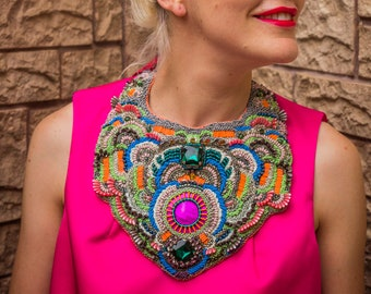 Designer oversized haute couture necklace DECADENTE / Bead embroidered bib necklace wityh silk ribbon
