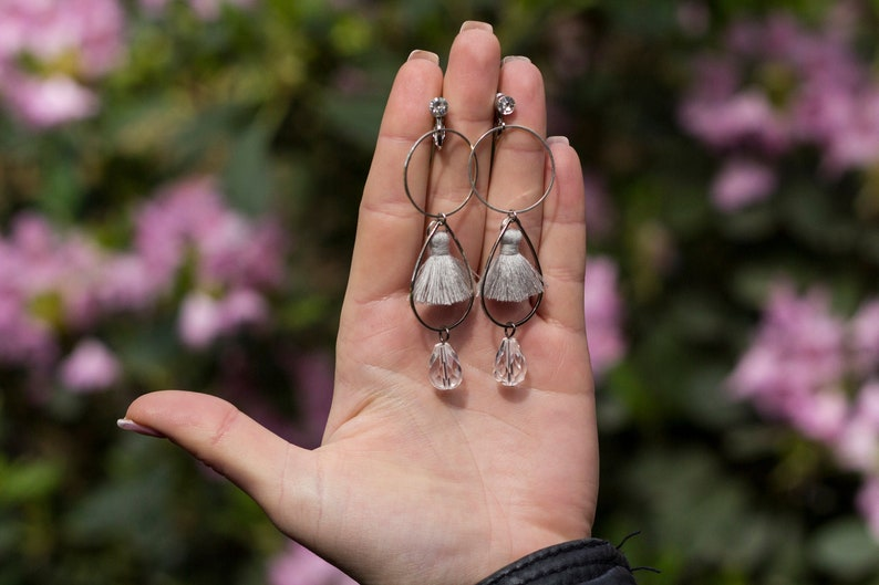 Crystal drop long tassel earrings CADERE / Lightweight clip on image 0