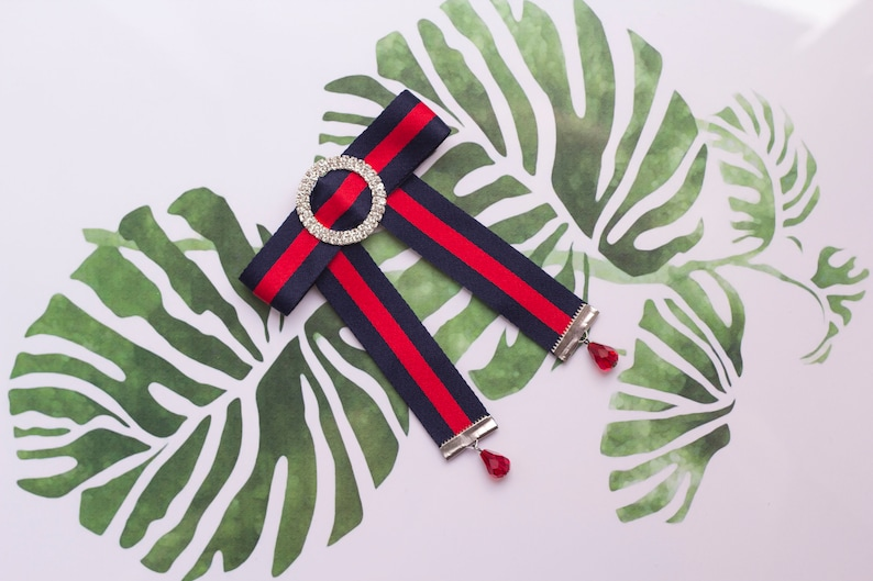 aae4eb11034 Ladies bow tie red navy   Stripe bow knot brooch   Web