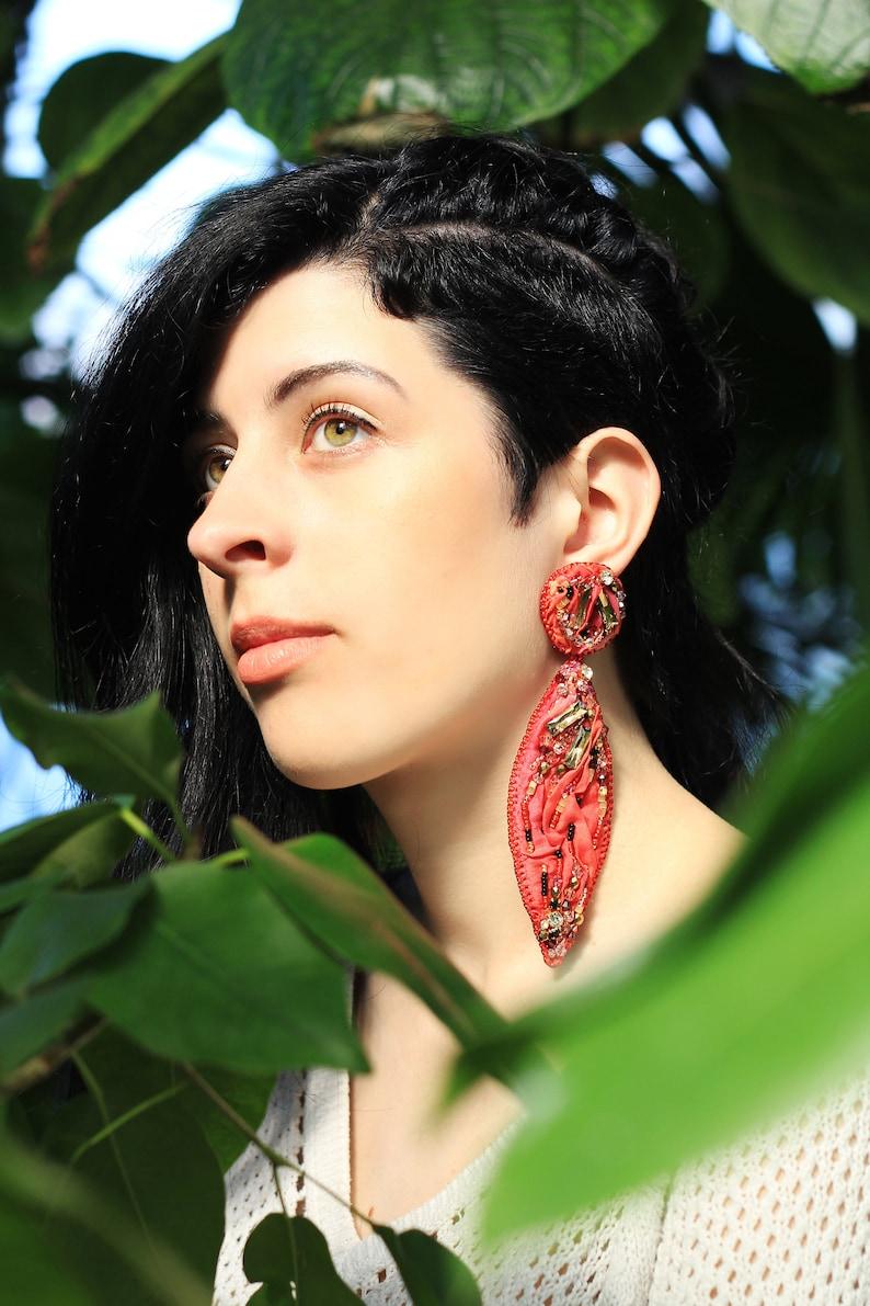 Long silk earrings / Crystal embroidered red silk earrings / image 0