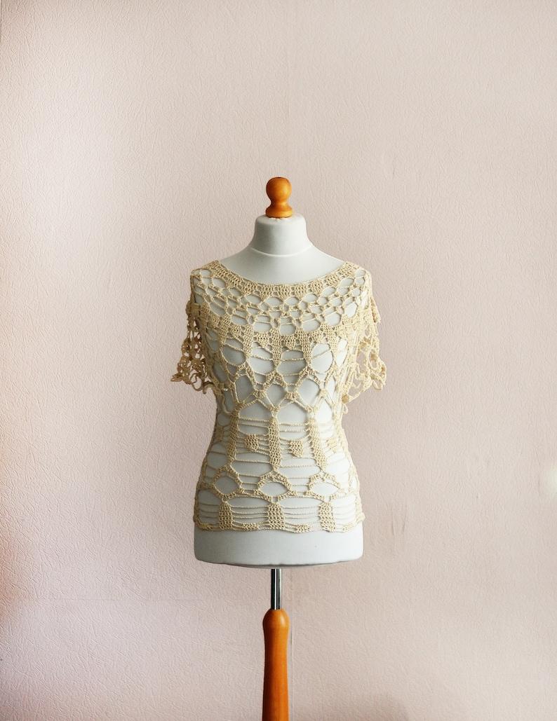 Boho Crochet Women Lace Blouse / Luxury hand crochet top / image 0