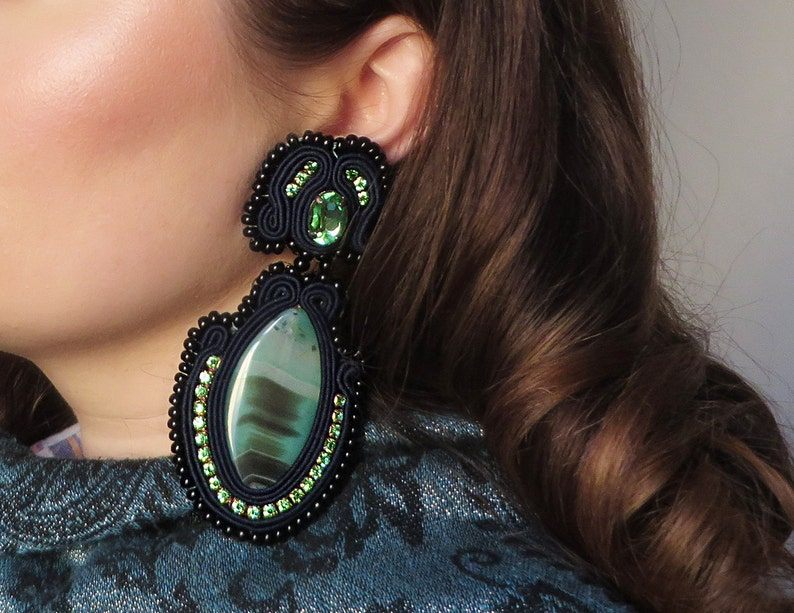 Green agate earrings / Blue soutache earrings / Large agate image 0
