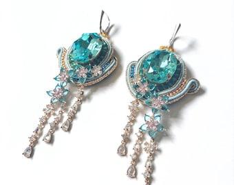Baby blue zirconia earrings CIELO / delicate statement earrings with sterling silver ear wire / romantic floral jewelry
