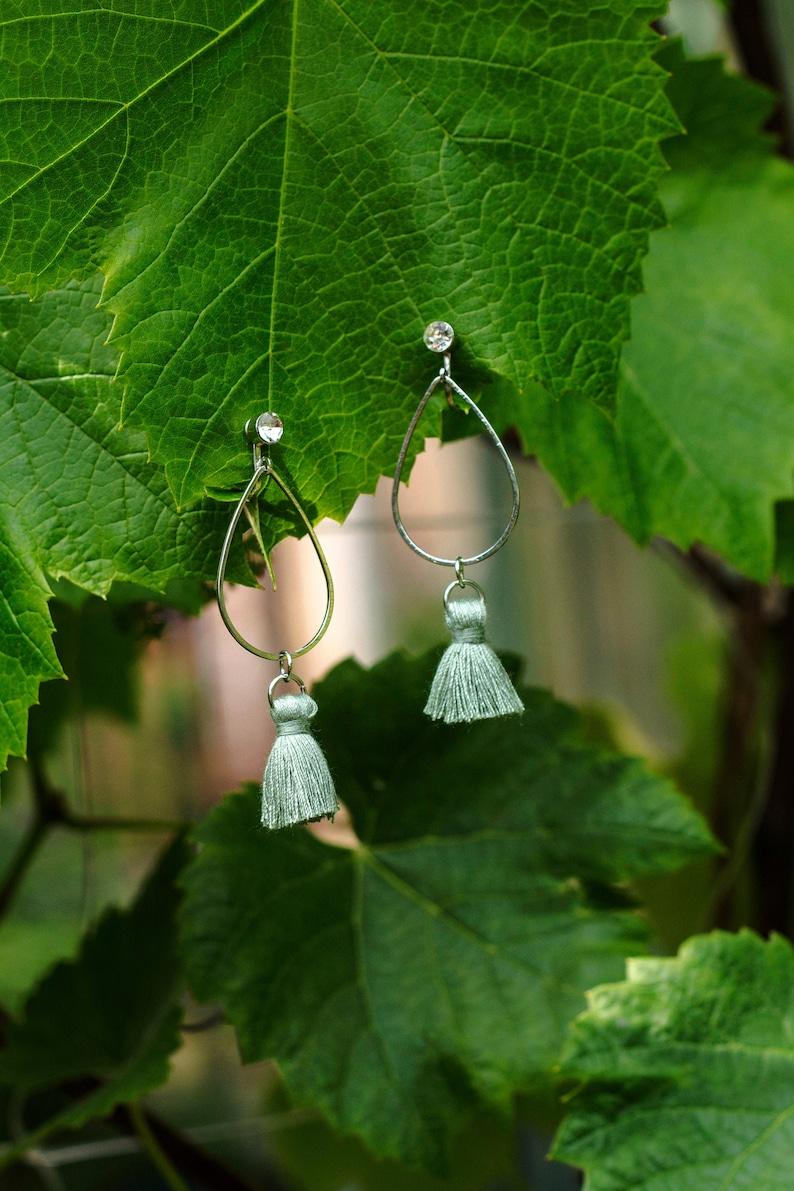 Mint tassel clip earrings Cotton tassel clip ons earrings image 0