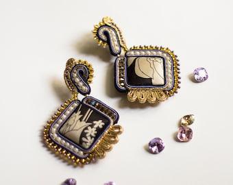 Avant garde earrings MINUIT/ Soutache gold black earrings / Des boucles d'oreilles en or / Artisan jewelry bohemian ethnic gypsy style