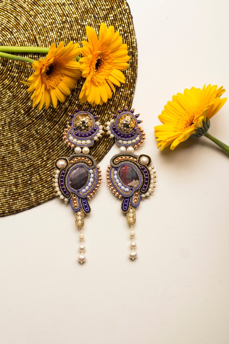 Oriental pearl earrings with cultured freshwater pearl fringe image 0