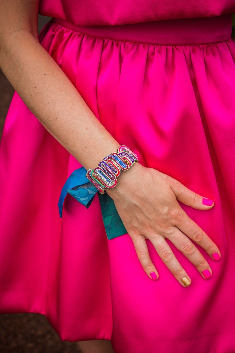 Beaded soutache cuff PASSAGE / Ethical fashion bracelet made image 0
