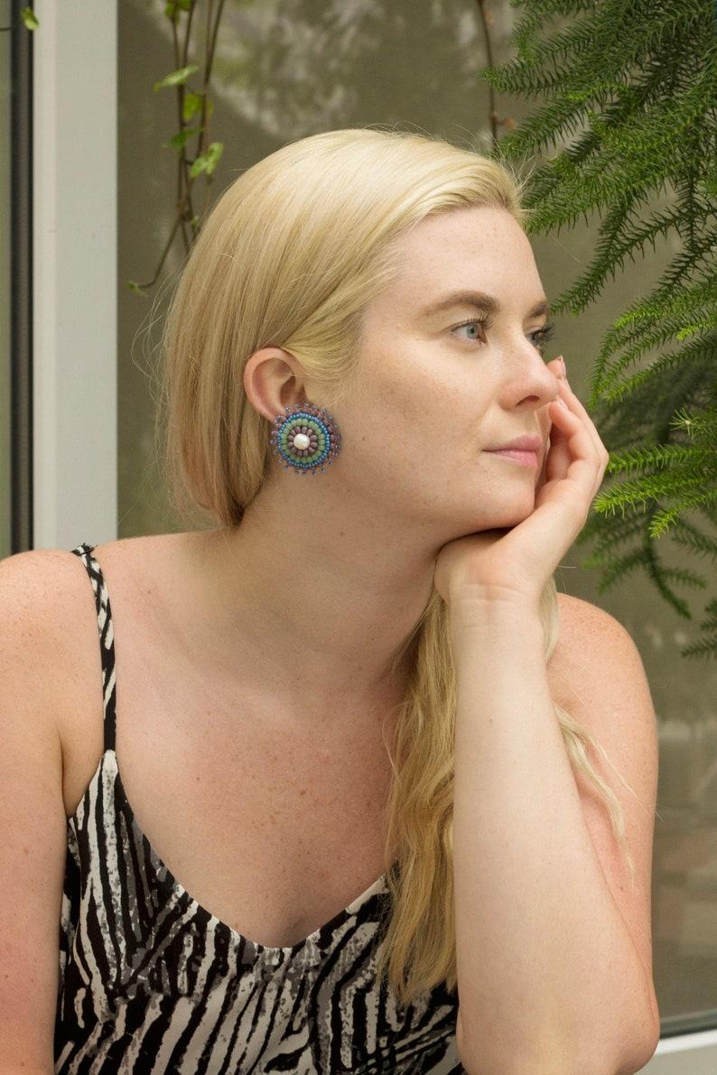 Large clip pearl earrings LIWA / Bead embroidered purple green image 0