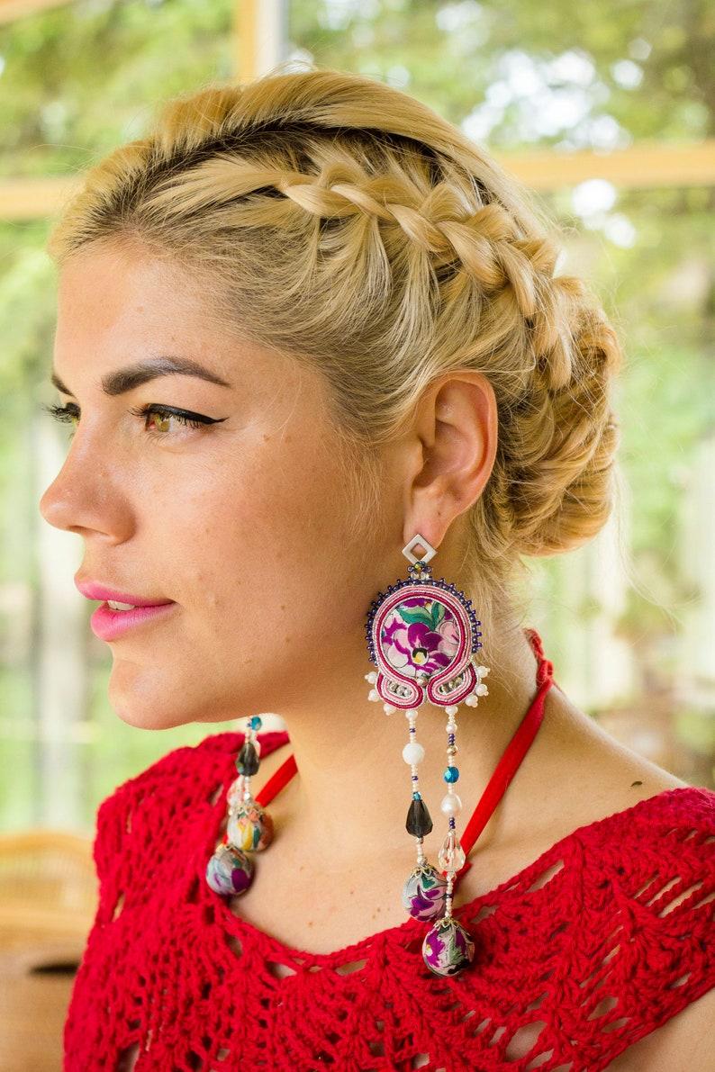 Silk earrings soutache PELOTA / Silver beaded statement dangle image 0