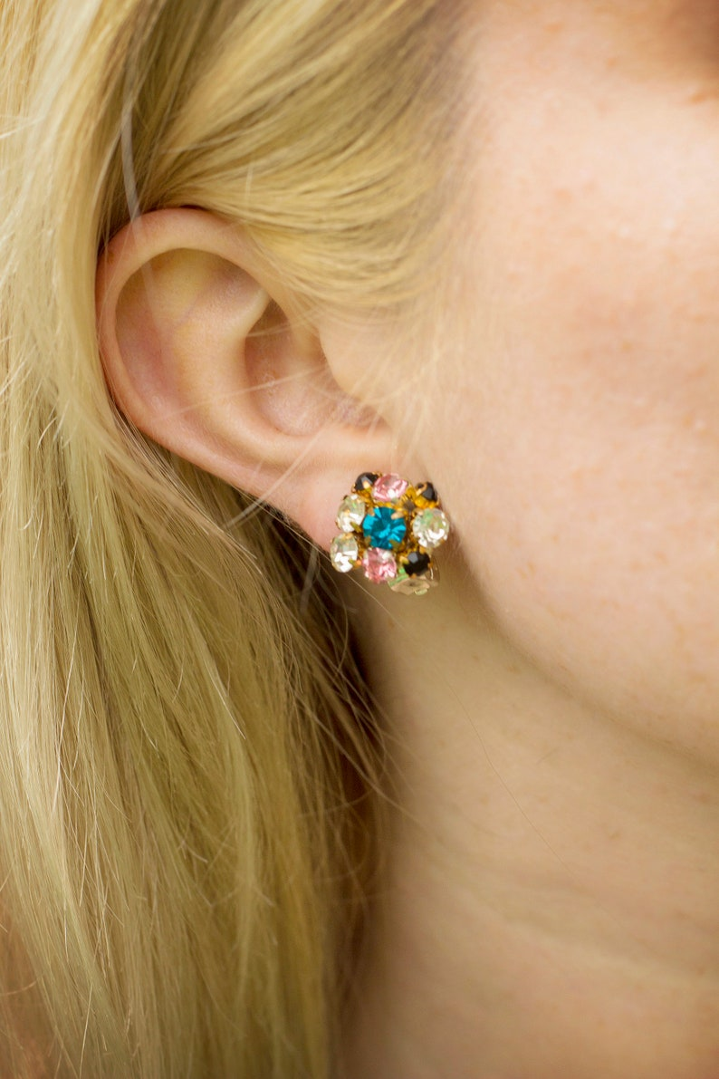 Crystal clip earrings BONBON MINI / Colorful rhinestone clipon image 0