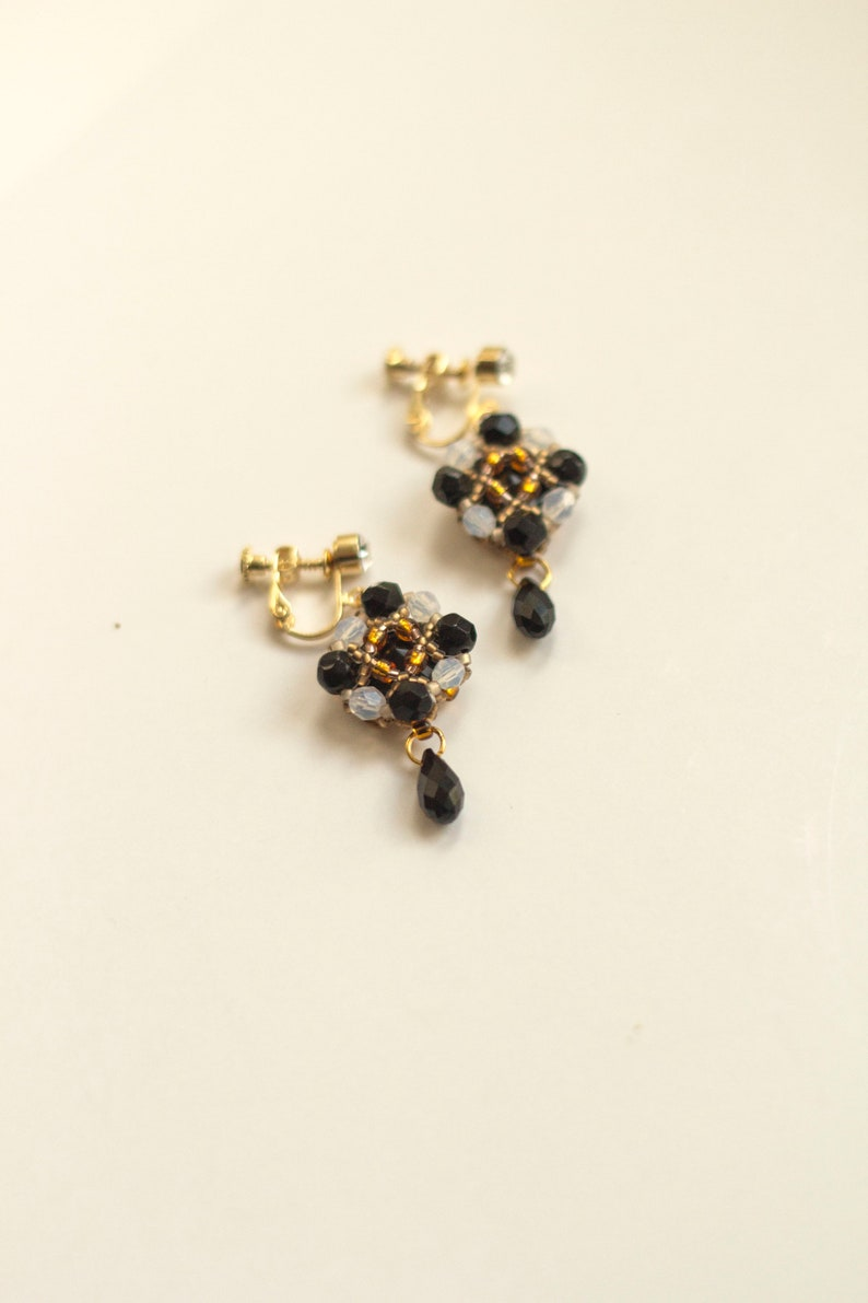 Black Swarovski clip ons CUBO / Fair trade comfortable clip on image 0