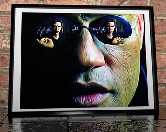 The Matrix Morpheus Blue Pill Red Pill Painting Poster Print - Giclée Poster Print - Neo - Keanu Reeves - Laurence Fishburne