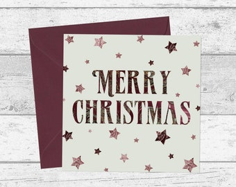 marble stars merry christmas cards mint green burgundy red set of 1 3 5 10 20 retro typography star christmas card holiday card - Mint Christmas Cards