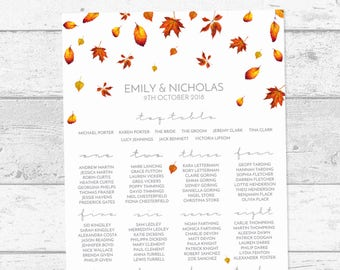 Falling Autumn Leaves Personalised Wedding Table Plan, Printed A1 A2 A3, Foam Board or Printable PDF, Minimal Fall Wedding Seating Chart