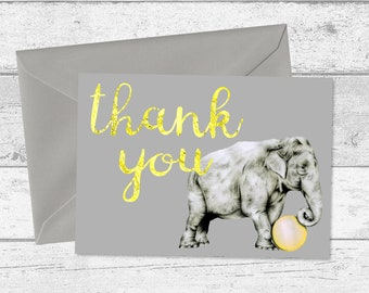 Yellow and Grey Playful Elephant and Ball Thank You Cards or Postcards, Pack of 10, Children's Thank You Notes, Baby Thank You Card Set