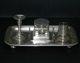 Victorian Circa 1899 Sterling Silver Desk Inkwell Set
