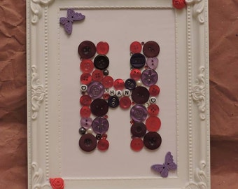 Personalised button-art letters on frame or canvas