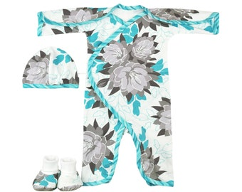 173ad2b175ea NICU-Friendly Preemie Clothes for the Premature Baby in your life. Desert  Bloom L/S NIC-Jumpsuit- Preemie Baby Clothes sized for 3-6lbs.