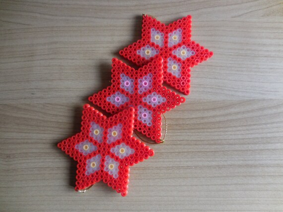 Christmas Hama Beads.Christmas Stars Tree Ornament Hama Beads Tcashop Pixel Art Perler Beads Red Stars Winter Deco Bead Art