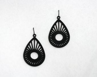 Sunrise Pear Earrings, 3D Printed Nylon Black Jewelry
