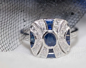 Art deco pattern sapphire and silver ring - 1920s design / art deco vintage / blue sapphire / sapphire jewelry / natural sapphire / gatsby