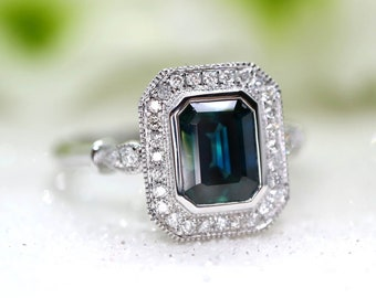 Diamond sapphire engagement ring in Art deco design - blue sapphire ring in white gold setting, blue sapphire in emerald cut