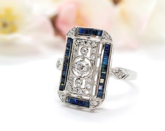 Blue sapphire and sterling silver ring in Art Deco design - Vintage sapphire engagement ring, vintage wedding ring, sapphire ring