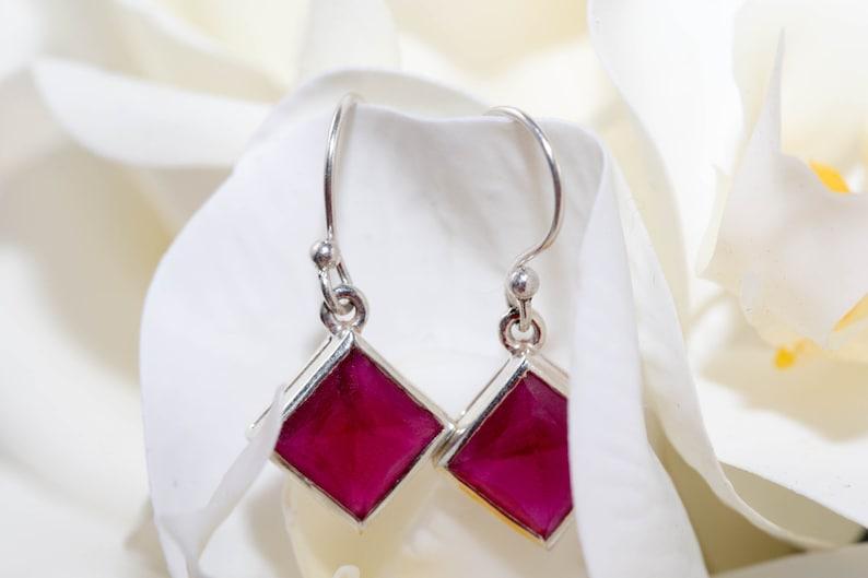 Cherry ruby drop earrings  sterling silver earrings  red gemstone earrings  square drop earrings  ruby earrings