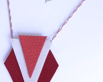 long shapes geometric red, coral, off-white leather