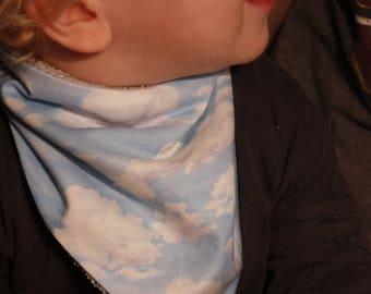 scarf / bandana child clouds and sky blue