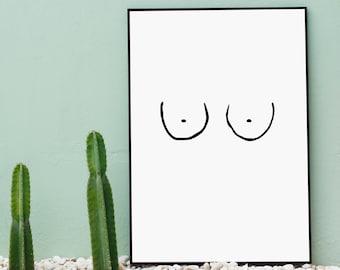 Boobs Print | Bedroom Bathroom Poster | Home Decor | Boobs birthday Card | Printable Wall Art
