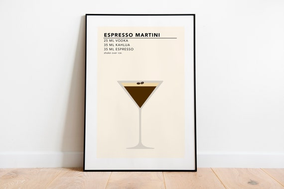 Espresso Martini Print Cocktail Recipe Card Cocktail Etsy