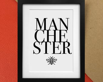 Manchester Print with Worker Bee | Home Decor Poster