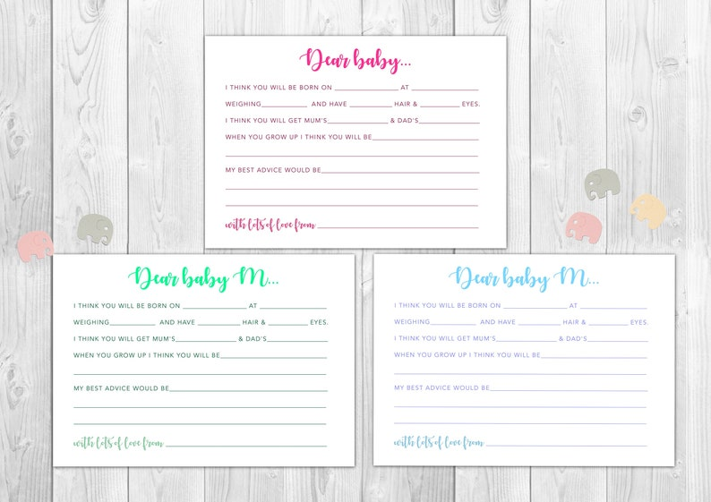 Baby Shower /'Dear Baby/' Advice Cards Rose GoldCopper metallic color scheme