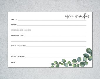 Personalised Wedding Advice Cards | Advice for the bride and groom | Hen do activity | Hen Do Games | Wedding Table Decor
