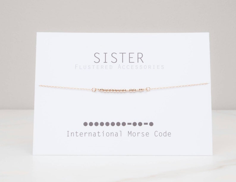 Sister Morse Code Necklace Gift for Sister Gold Message image 0