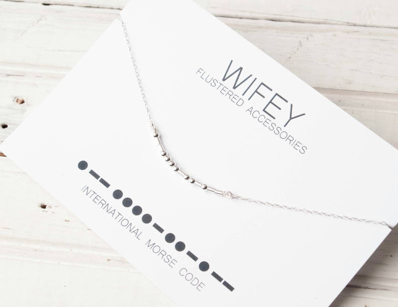 Wifey Morse Code Necklace, New Wife, Bride Gift, Bridal Party, Wedding,  Wedding Gift, Bachelorette, Mom Gift