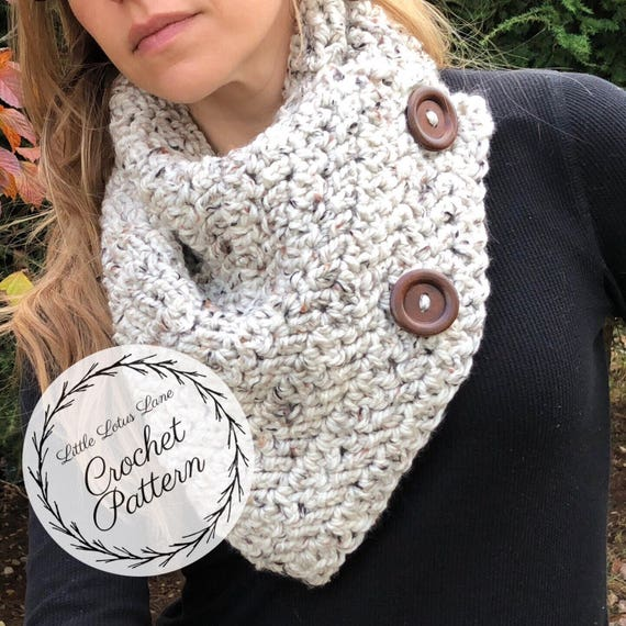 The Bentley Button Cowl Crochet PATTERN / Written Tutorial / | Etsy
